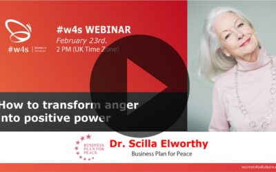 Dr Scilla Elworthy – How to transform anger into positive power – #w4s – Women4Solutions – Webinar